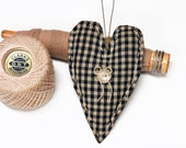 Heart Ornament - Valentine's Day Gift - Primitive Heart - Rustic Country Decor - Soft Sculpture Heart - Navy Blue/Cream Checks - Folk Art