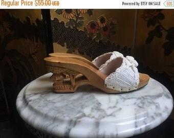 25% OFF SALE 1970's Wooden Wedges / Souvenir Shoes / Cream Crochet Sandals / Size 7 Sliders