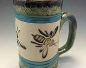 Bees, Honeycomb, Bee Mug, Honeycomb Dancing Bees Mug, Handbuilt Bee Mug, Bee Coffee Mug, Stoneware Bee Mug, Bee Beer Mug, Bee Coffee Mug