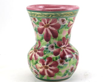 Pink Bud Vase - Ceramic Decorative Flower Vase - Floral Design - OOAK Collectible