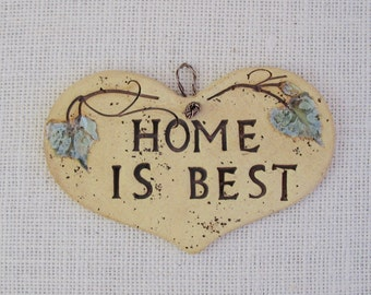 """Ceramic Wall Plaque - Small Heart-Shaped """"Home is Best"""" - Made Using Real Grape Leaves - Wall Hanging - Decoration - Garden decor - Gift"""