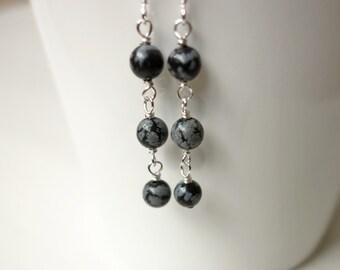 Stone earrings snowflake obsidian earrings minimalist earrings three stone earrings