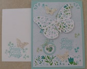 Beautiful Butterfly Die Cut Handmade Card from Stampin' Up! My Paper Pumpkin Kit, Butterflies, Glitter, Rhinestones and more