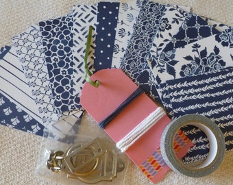 "BOGO Washi Tape - DIY Stampin' Up! Kit ""Floral Boutique"" DSP Pattern Papers and Ribbon Sampler Navy and White"