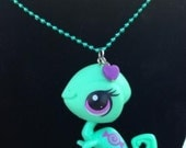 Green Chameleon Pendant Charm Teal Ball Chain Necklace