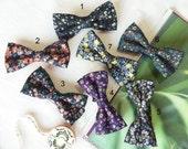 Wedding Set of 4 - 7 Floral Navy Men's Bow Ties, Groomsmen Bow Ties, Mismatched Wedding Bow Ties