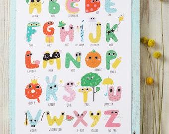 Alphabet ABC Kids Wall Art Print Poster