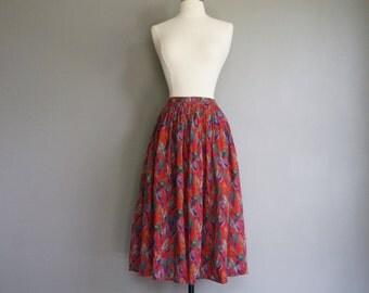 70s Vintage DESIGNER UNGARO Bird Print Skirt (xs)