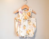 Spring Dayz Romper - Yellow, Cream & Purple Cotton Fabric with eyelet detail