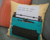 Personalized Pillow- Typewriter Pillow - Christmas Present - Pillow Cover - Decorative Pillow -  Customize - Message - For Him