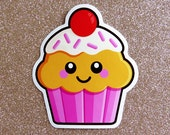 Pink Strawberry Cupcake Vinyl Sticker - 10cm fun cake food paper stationery stickers cute kawaii