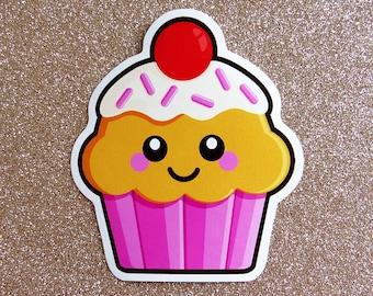 Pink Cupcake Vinyl Sticker 10cm, die cut sticker, vinyl laptop sticker, cute cake sticker, kawaii food illustration, happy cupcake sticker