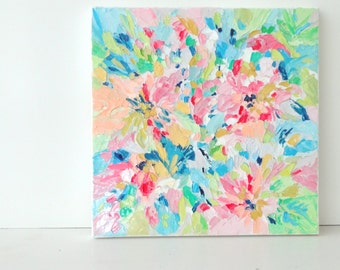 Abstract Floral No.1, Original Oil Painting, Impasto, Palette Knife Painting, 10x10