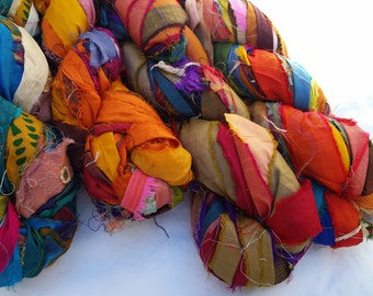 TWO Skeins Rich Recycled SILK Sari Ribbon