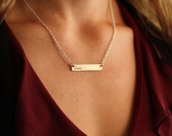 SALE - Silver Bar Necklace - Personalized Bar Necklace - Personalized Jewelry - Secret Sister Gift - Birthday Gift - Mother's Day Gift