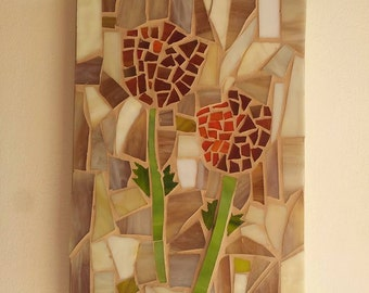 Glass Flowers Mosaic Picture Wall Ornament Decor Israel Artists Handmade