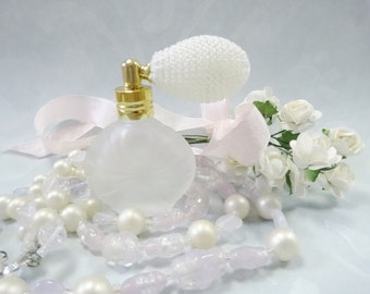 Miniature White Satin Glass Perfume Scent Bottle Vanity Display Lot Collection Vintage Beaded Necklace Floral Sprig