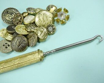 Old Fancy Metal Shoe Button Hook For Your Keepsake Memories Shadow Box Display PLUS Handful Brass Gold Sewing Buttons