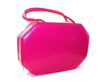 Vintage 1960's Hot Pink Go-Go Handbag mod Box Purse, Large Travel Case