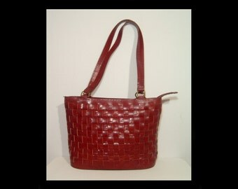 Magnificent huge woven cowhide leather tote ~ dark reddish russet brown ~ Large 13 x 11 carry all ~ shopper purse laptop case saddle bag