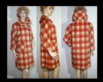 1950s soft virgin wool angora above knee coat 6 Small Medium burnt orange rust brown cream plaid ~ detachable platter collar ~ gorgeous 50s