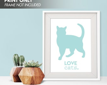 LOVE CATS - Art Print (Featured in Duck Egg) Love Animals Art Print and Poster Collection