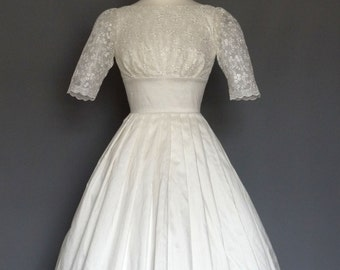 White Silk Dupion and Lace Wedding Dress- Made by Dig For Victory