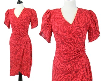 1980s does 50s Dress, Vintage Hawaiian Dress, 50s Inspired Dress, Red Floral Wrap Dress, M - L