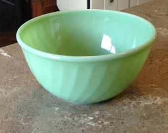 "Vintage Fire King Jadite Jadeite Green SWIRL Glass Large 9"" Mixing Bowl"