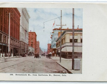 Seventeenth Street Scene Denver Colorado 1910s postcard