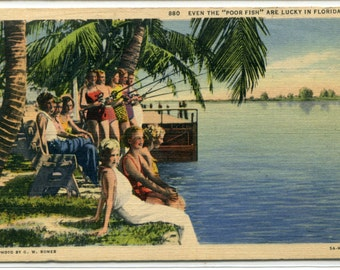 Fishing in Florida 1938 linen postcard