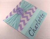 Chic Photo Album baby girl Photo Album Baby Shower Gift 4x6 5x7 8x10 picture Teal Lavender Purple Chevron shabby flower