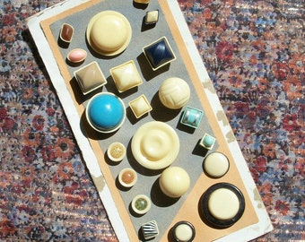 73 Assorted Celluloid / Vegetable Ivory & MOP Buttons on Cards, Vintage