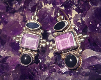 Sterling Silver Amethyst and Onyx Earrings