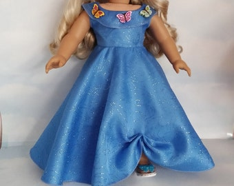 Last One! - 18 inch doll clothes - 2015 Cinderella with Butterfly Shoes - #713 - FREE SHIPPING