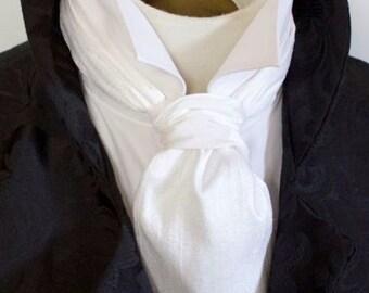 FORMAL White Dupioni SILK Victorian Ascot Tie Cravat