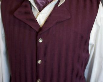 Purple Plum Satin Stripe Brocade Regency Historic Vest Waistcoat LIMITED