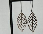 Earrings Brass Filigree Leaves Dangle Antiqued French Wires Boho Handmade