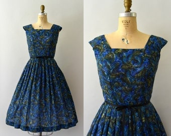 1950s Vintage Dress - 50s Moody Blue Paisley Sundress