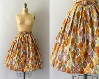 1950s Vintage Skirt - 50s Colorful Harlequin Print Cotton Full Skirt
