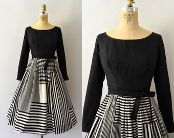 1950s Vintage Dress - 50s Black and White Graphic Striped Silk Dress