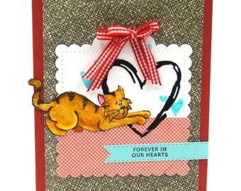 Cat Sympathy Tabby Kitty Loss of a Pet, Handmade Card