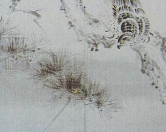 Japanese Handpaint 100% Linen Noren- Hawk Bird Perched on Pine Tree