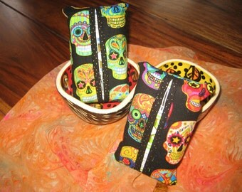 Fabric Tissue Cover, Day of the Dead, Sugar Skulls, Bright Skulls, Teacher Gift, Bunco Gift, Thank you Gift, Secret Santa Gift,
