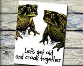 Let's Croak Together Toads Funny Printable Digital Download Valentine Funny Card DIY Print Instantly anniversary card Old age Love Joke