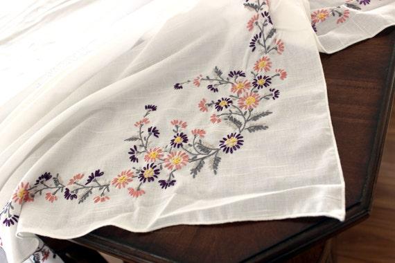 Large unfinished tablecloth embroidered linen vintage