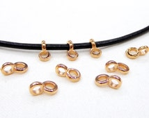 Pink Gold Roze Gold Charm Holder Spacer with Loop, Slider Ring Finding for use Round Cord 2mm, 5x8mm (Ø 2.2mm) - 4 pieces