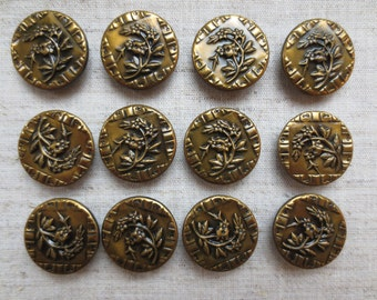 Vintage beautiful victorian floral design art deco brass tone metal shank buttons. Lot of 12.