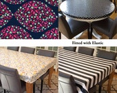 Laminated cotton aka oilcloth tablecloth custom size and fit choose elastic, tailored or draped Anna Marie Horner Field Study Minds Eye Jazz