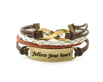 Infinity and Follow Your Cord Bracelet. Best Friend Gift, Cord Bracelet, Handmade Bracelet, Friendship Bracelet